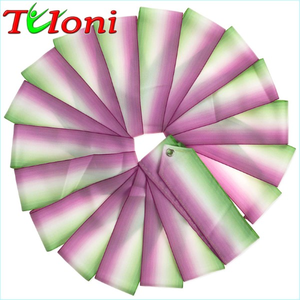 Dreifarbiges Band Tuloni 5m col. Green-White-Fuchsia Art. T0877