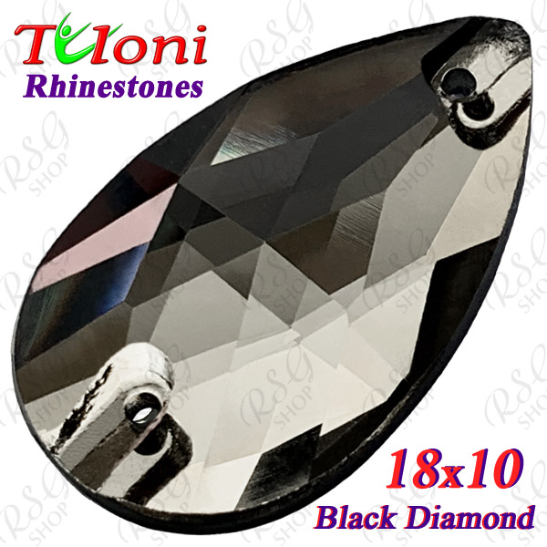 Strass Tuloni 10 pcs Black Diamond 18x10 Pear Sew-On Flat Back