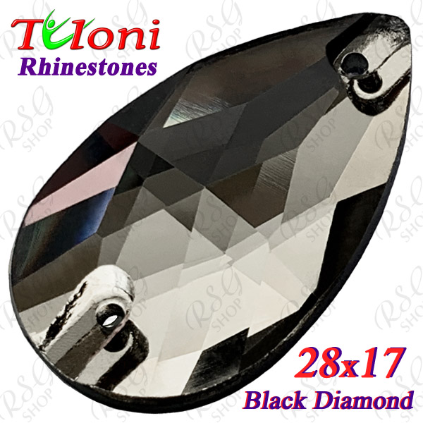 Strass Tuloni 10 pcs Black Diamond 28x17 Pear Sew-On Flat Back