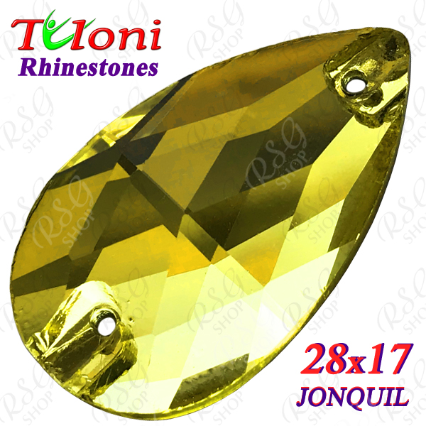 Strass Tuloni 10 pcs Jonquil 28x17 Pear Sew-On Flat Back