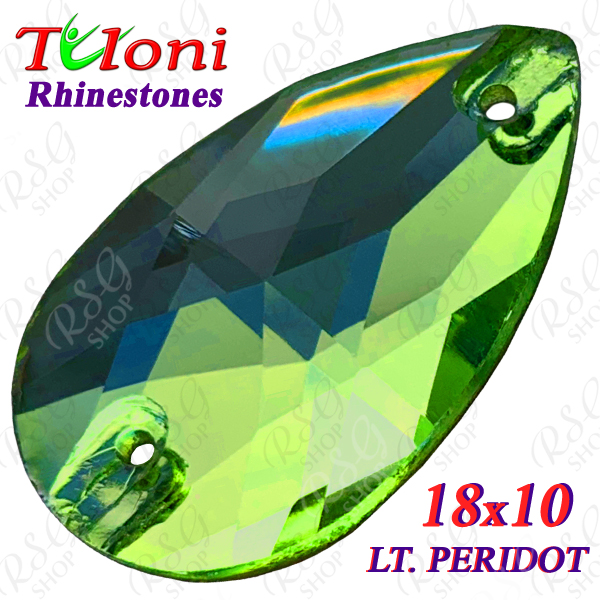 Strass Tuloni 10 pcs Light Peridot 18x10 Pear Sew-On Flat Back