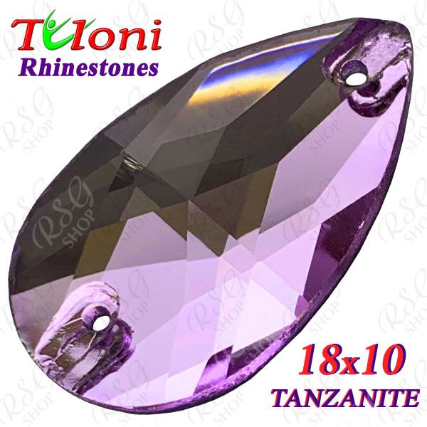 Strass Tuloni 10 pcs Tanzanite 18x10 Pear Sew-On Flat Back