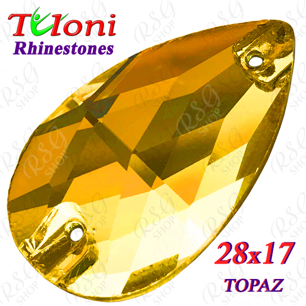 Strass Tuloni 10 pcs Topaz 28x17 Pear Sew-On Flat Back