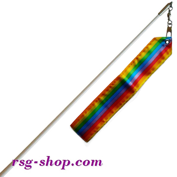 Weißer Stab 60cm & Band 6m in Rainbow-1 incl. Griff Art. T0050