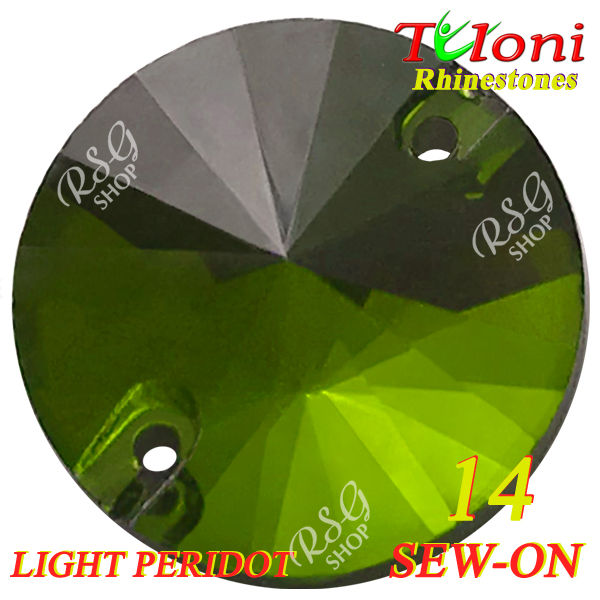 Strass Tuloni 10 pcs Light Peridot 14 Round Sew-On Flat Back
